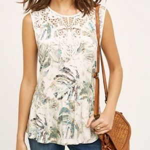 Anthropologie Palm Leaf Lace Peplum Top Size Small
